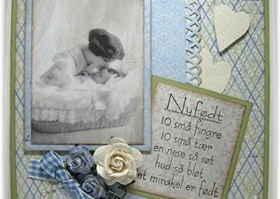 Håndlaget kort til nyfødt gutt