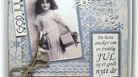 Lyseblå julekort i vintagestil